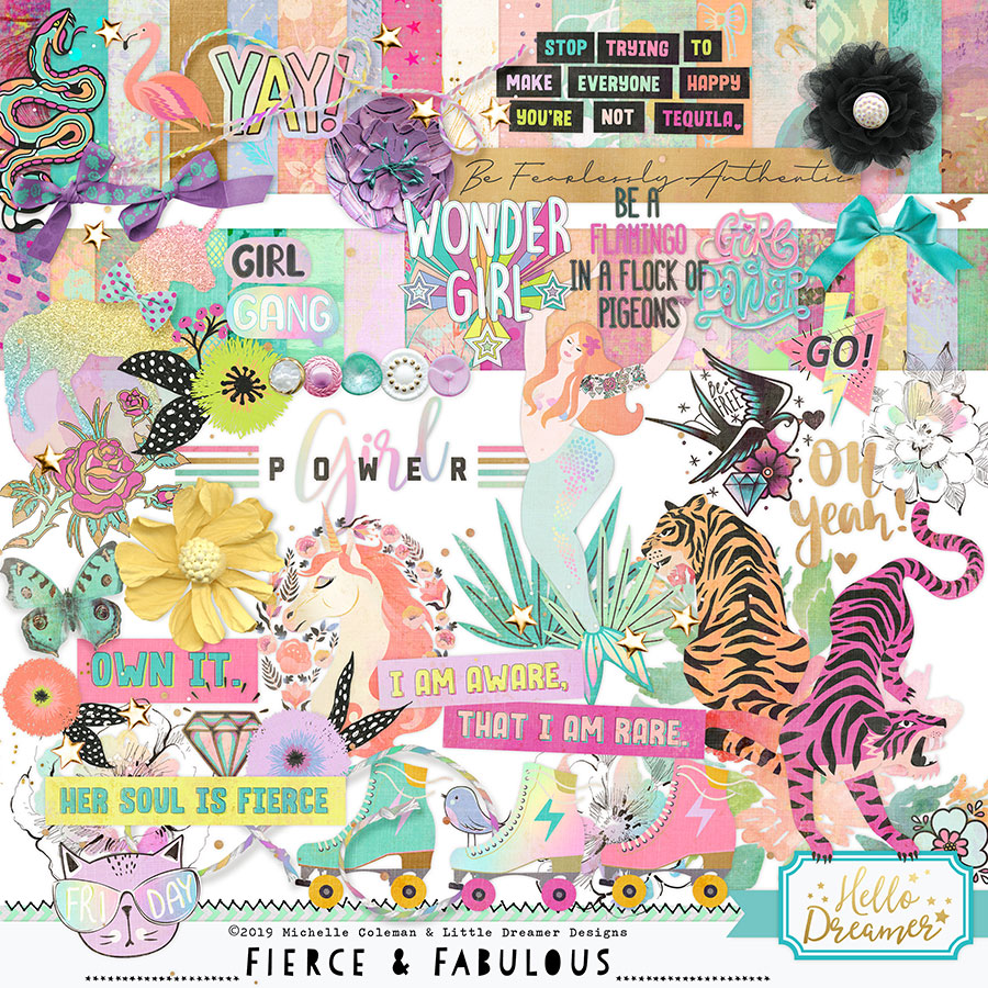 Digital scrapbooking paper and embellishments